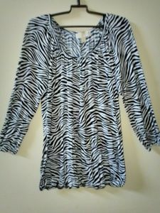 Michael Kors Scoop Neck Zebra Print Top
